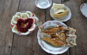 Essen Fisch Platano Yucca Salat