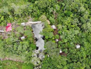 Amazonas Urwald Camp Vogelperspektive